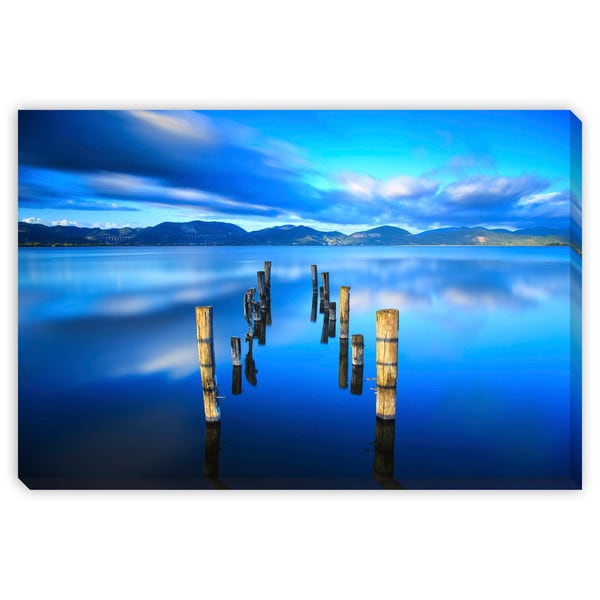 Stevanzz's 'Wooden Pier on Blue Lake Sky Reflect' Canvas Gallery Wrap