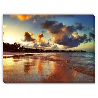 Valentin Valkov 'Sunset Over Exotic Beach in Punta Cana' Gallery Wrapped Canvas Art