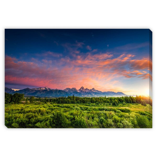 Dfikar's 'Sunrise in the Wyoming Tetons' Canvas Gallery Wrap