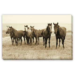Jo 'Wild Horses on the Beach' Gallery Wrapped Canvas Art