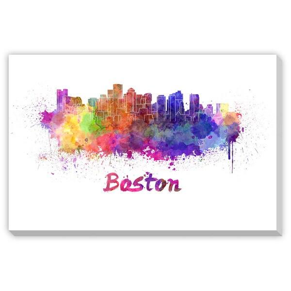 Paulrommer's 'Boston Skyline in Watercolor' Canvas Gallery Wrap