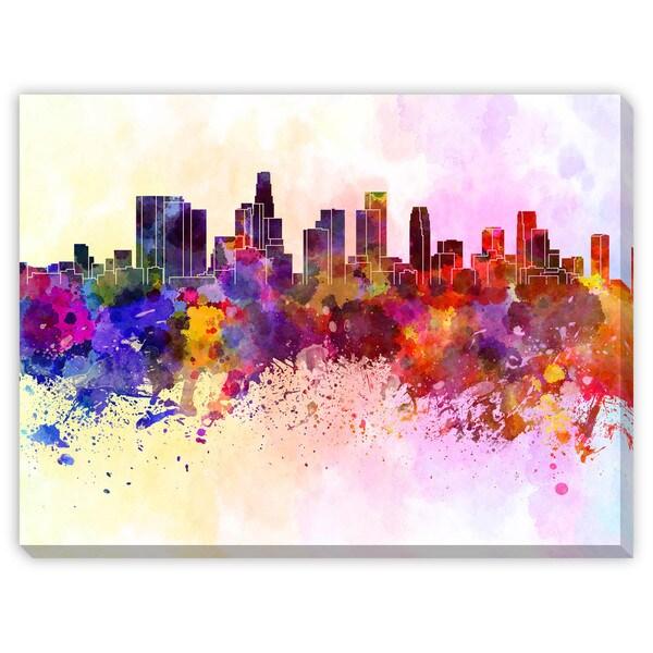 Paulrommer's 'Los Angeles Skyline in Watercolor' Canvas Gallery Wrap