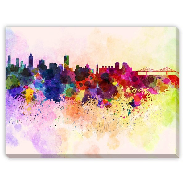 Paulrommer's 'Montreal Skyline in Watercolor' Canvas Gallery Wrap