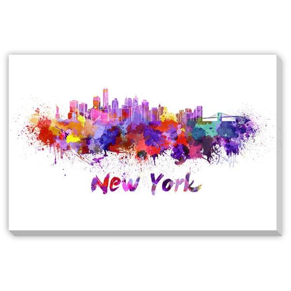 Paulrommer's 'New York Skyline in WatercolorI' Canvas Gallery Wrap Art