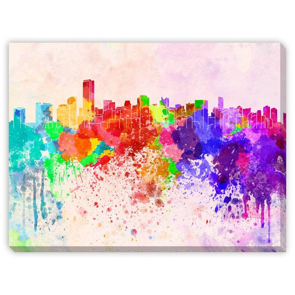Paulrommer's 'Miami Skyline in Watercolor II' Canvas Gallery Wrap