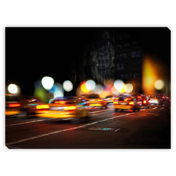 Pink Badger's ' Blurred Yellow Cabs' Canvas Gallery Wrap
