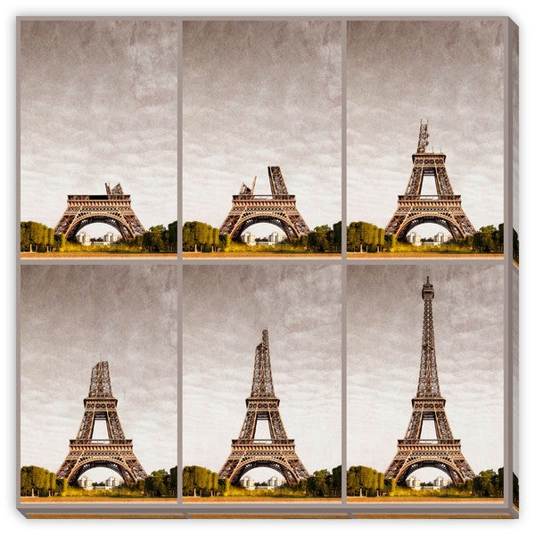 Giuseppe Porzani's 'Eiffel Tower Progressive Construction' Canvas Gallery Wrap