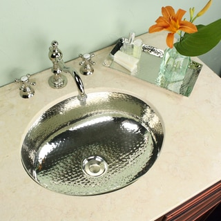 Highpoint Collection Oval Hammered Undermount Bathroom Sink with Nickel Vanity Tray Set