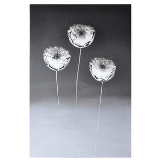 Sunpan 'Three White Flowers' Contemporary Canvas Wall Art