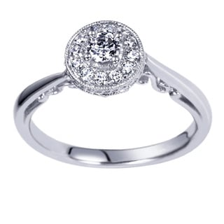 14k White Gold 1/4ct TDW Carved Milgrain Diamond Ring (H-I, I1-I2)