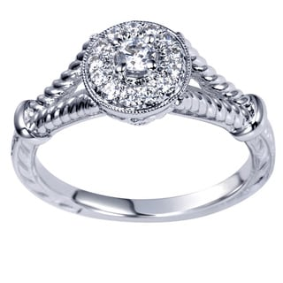 14k White Gold 1/4ct TDW Milgrain Rope Diamond Ring (H-I, I1-I2)