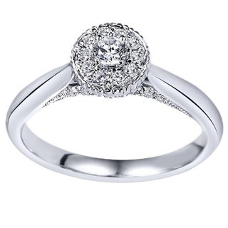 14k White Gold 1/3ct TDW Halo Crown Diamond Ring (H-I, I1-I2)