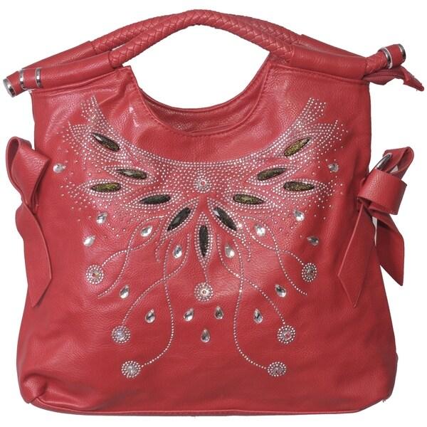 Red Rhinestone Pattern Shoulder Bag