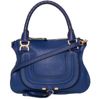Chloe Marcie Small Seawater Blue Leather Satchel