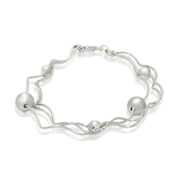 Gioelli Sterling Silver Triple Twisted Satin Bead Bracelet
