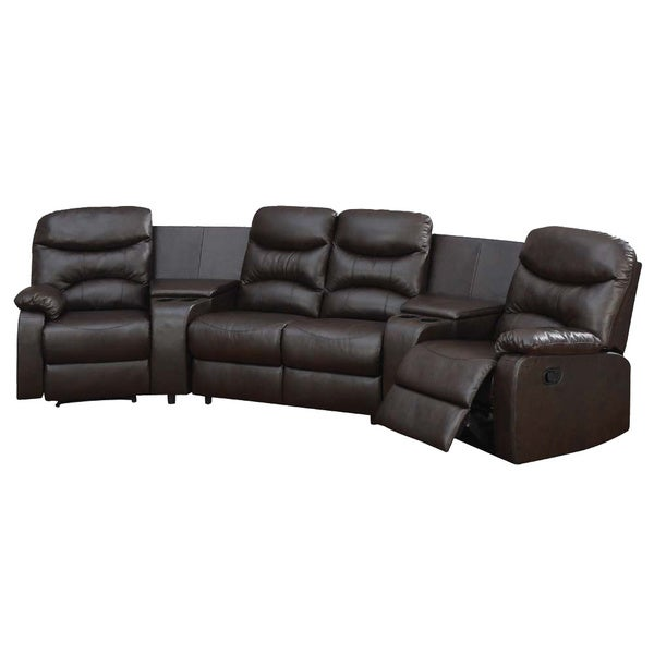 Ferrara Brown Bonded Leather Upholstered Home Theatre Sectional Sofa Set