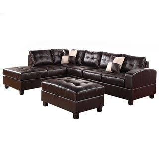 Planken Bonded Leather Chaise Sectional Sofa and Matching Ottoman Set