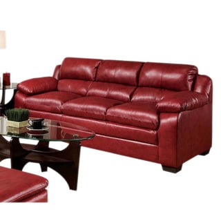 Klos Red Bonded Leather Upholstered Sofa and Loveseat Set