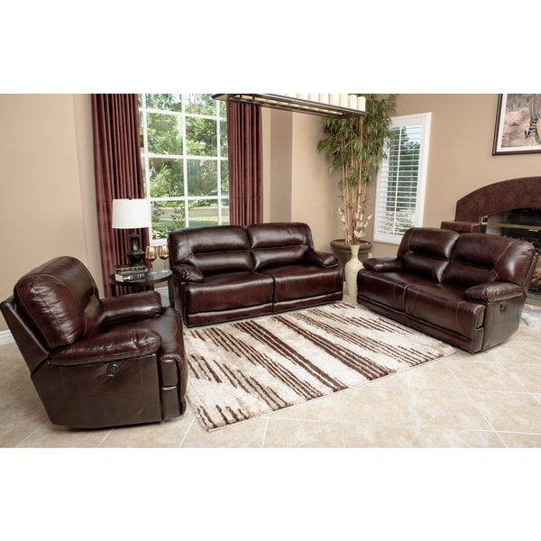 Abbyson Living Breckinridge 3 Piece Top Grain Leather Power Reclining Sofa Set 16381963