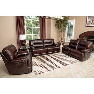 Abbyson Living Breckinridge 3-piece Top Grain Leather Power Reclining Sofa Set