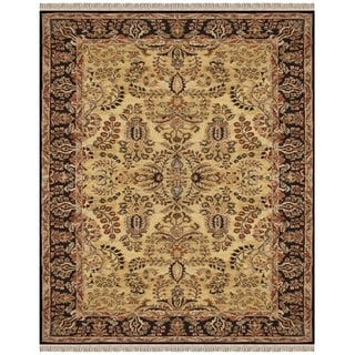 Alegra Floral Gold and Black Area Rug (5 x 8)