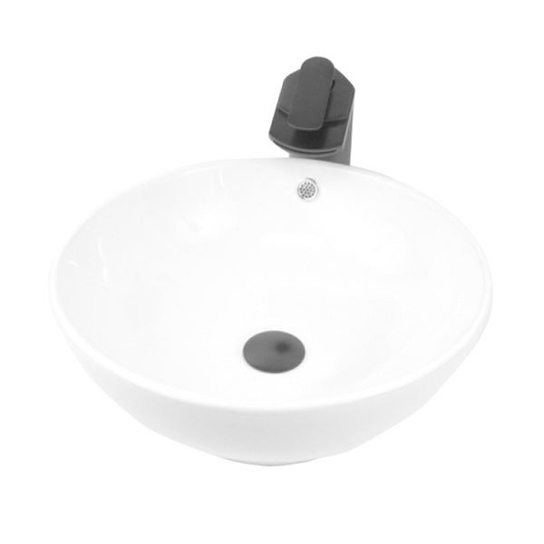 European Style Round Circular 16-1/2-inch Porcelain Ceramic Bathroom Vessel Sink