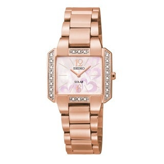 Seiko Women's Rose Goldtone White Diamond Bracelet Watch