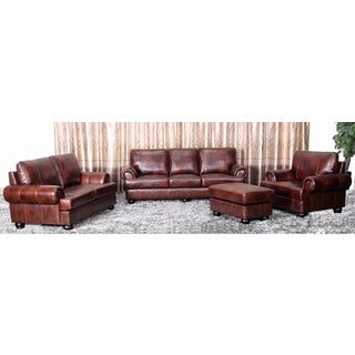 Abbyson Living Stratford 4-piece Leather Living Room Set