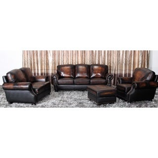 Abbyson Living Aliyah 4-piece Top-grain Leather Living Room Set