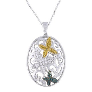 Beverly Hills Charm 14k White Gold 1/2ct TDW Yellow, Blue and White Diamond Butterfly Necklace (H-I, I2-I3)