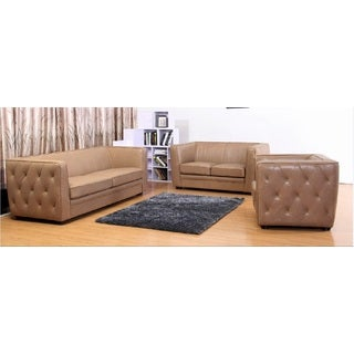 Abbyson Living Manchester 3-piece Top Grain Leather Living Room Set