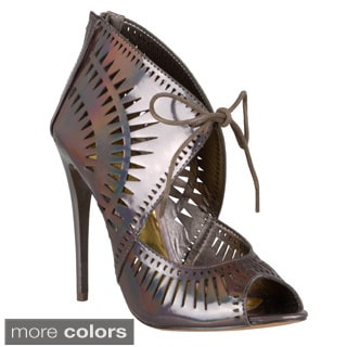 Journee Collection Women's 'Jene-7' Laser Cut-Out Lace-Up Caged Heel