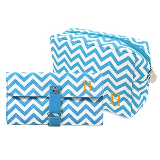 Personalized Aqua Chevron 6-piece Spa Bag and Makeup Roll Brush Set