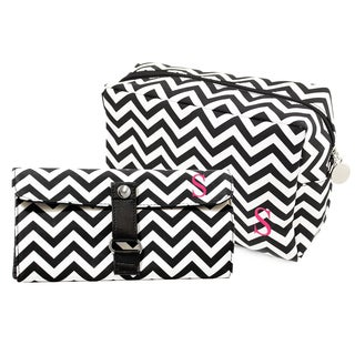Personalized Black Chevron 6-piece Spa Bag and Makeup Roll Brush Set