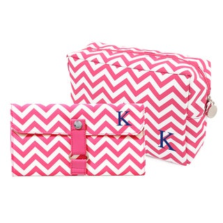 Personalized Bright Pink Chevron 6-piece Spa Bag and Makeup Roll Brush Set