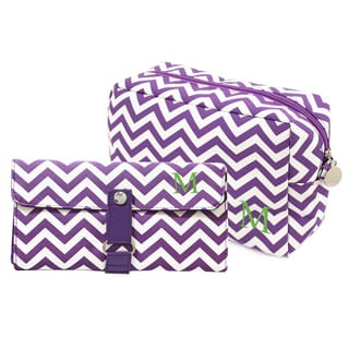 Personalized Lavender Chevron 6-piece Spa Bag and Makeup Roll Brush Set