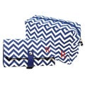 Personalized Navy Chevron 6-piece Spa Bag and Makeup Roll Brush Set
