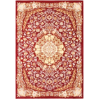 Persia Tabriz Dark Red/ Cream Medallion Area Rug (7'10 x 11'2)