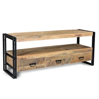 Hand-crafted Industrial Reclaimed Wood and Iron 3-drawer TV Console (India)