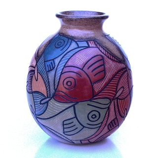 Hand-crafted Multi-colored Esher Fish Decorative Vase (Nicaragua)