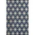 Handmade Geometric Pattern Blue/ Ivory Polyester Area Rug (3'x5')