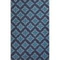 Handmade Geometric Pattern Blue Polyester Area Rug (7'6 x 9'6)