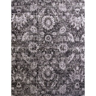 Hand Knotted Floral Pattern Grey Wool/ Art Silk Area Rug (8' x 10')