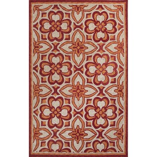 Handmade Geometric Pattern Red/ Orange Polyester Area Rug (7'6x9'6)