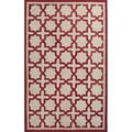 Handmade Geometric Pattern Red/ Natural Polyester Area Rug (3'x5')