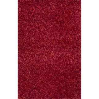 Solid Pattern Red Polyester Shag Rug (4'x6')