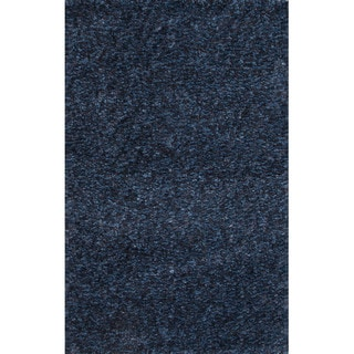 Solid Pattern Blue Polyester Shag Rug (5'x8')