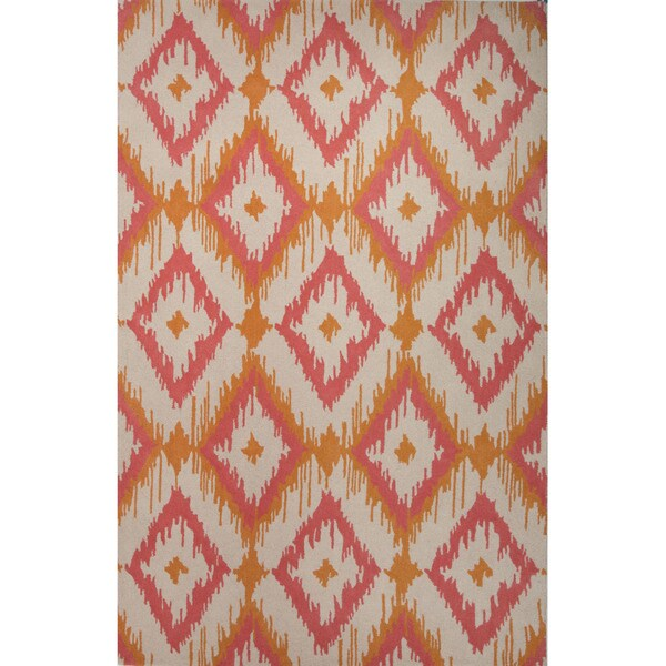Southwestern/Tribal Pattern Orange/ Pink Wool Area Rug (8'x10')