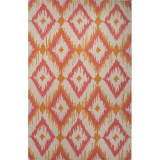 Southwestern/Tribal Pattern Orange/ Pink Wool Area Rug (5' x 8')