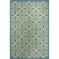 Hand Tufted Geometric Pattern Blue/ Green Wool Area Rug (8' x 10')